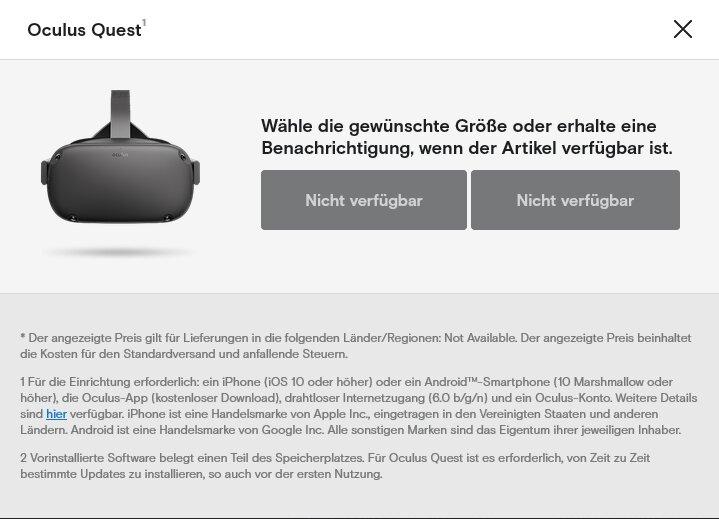 Die Oculus Quest ist bei Oculus aktuell nicht verfügbar