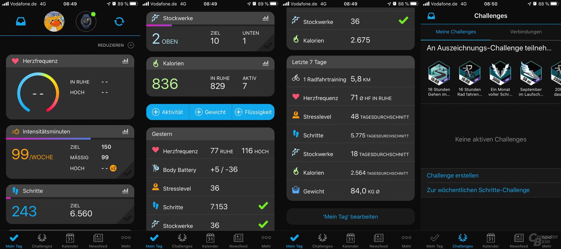 Garmin Connect: Aufbau der App