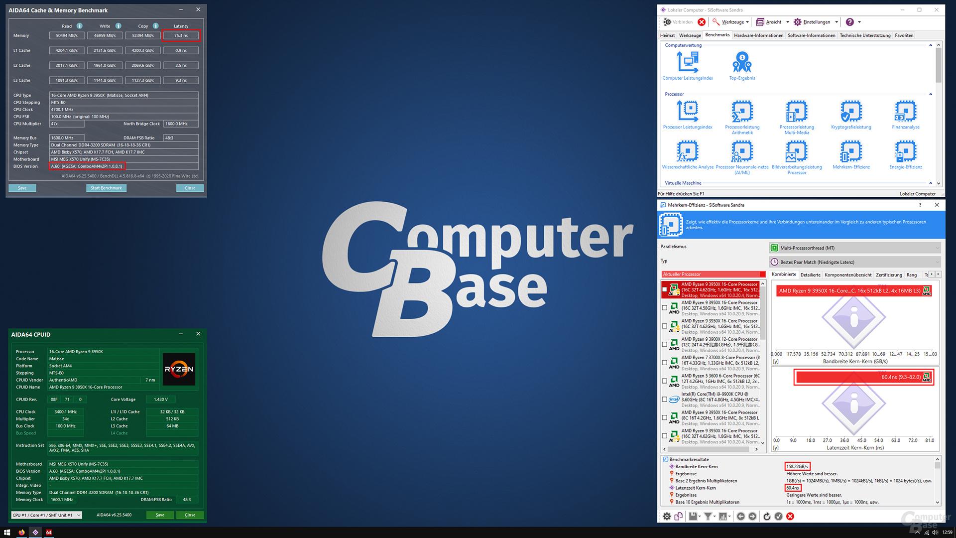 AGESA v2 1.0.8.1 mit 60,4 ns und 158,22 GB/s