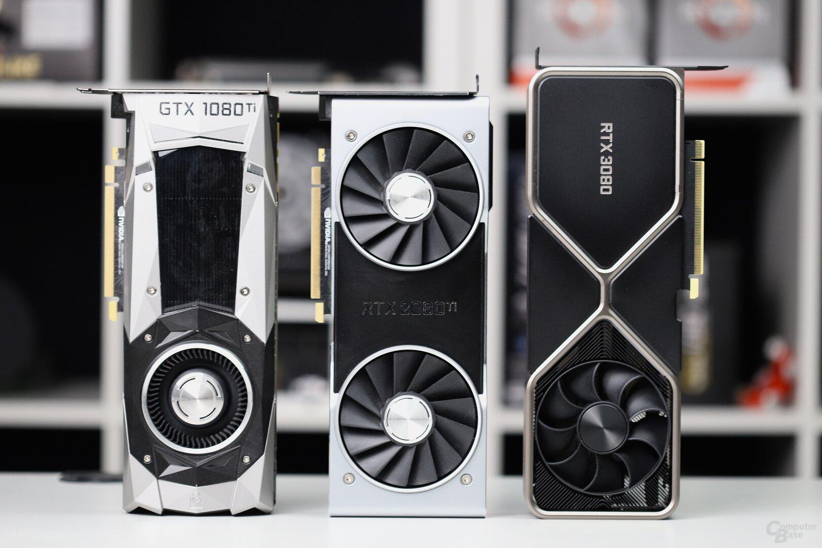GeForce RTX 1080 Ti FE, GeForce RTX 2080 Ti FE und GeForce RTX 3080 FE
