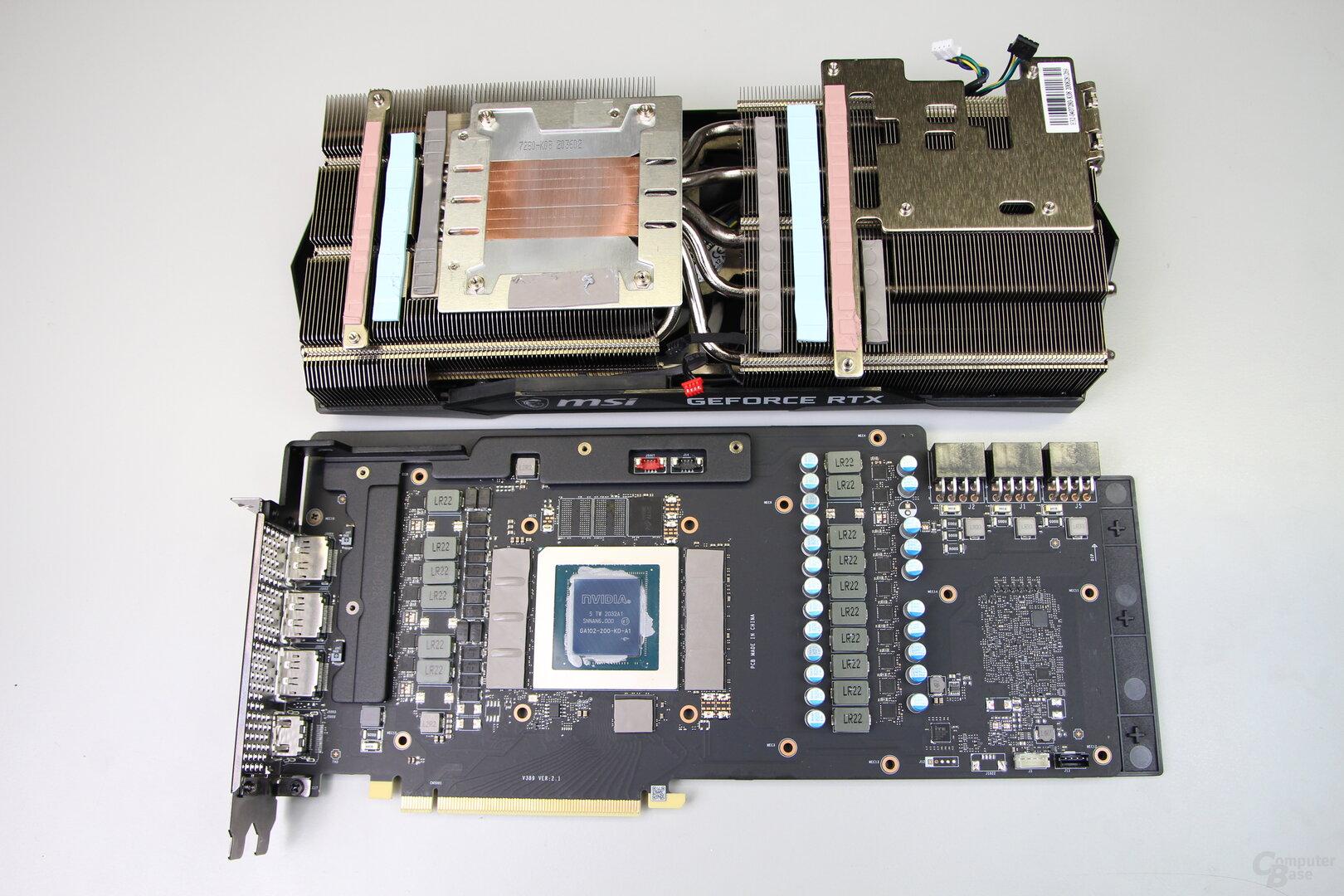 Platine und Kühler der MSI GeForce RTX 3080 Gaming X
