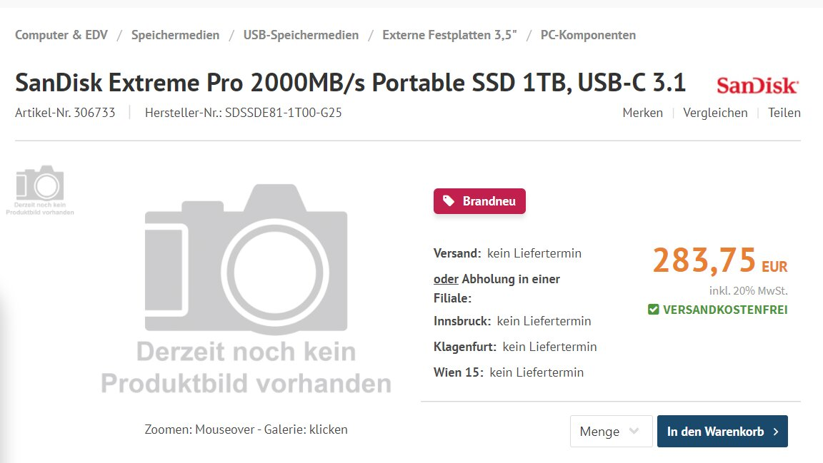 Neue SanDisk Extreme Pro Portable SSD