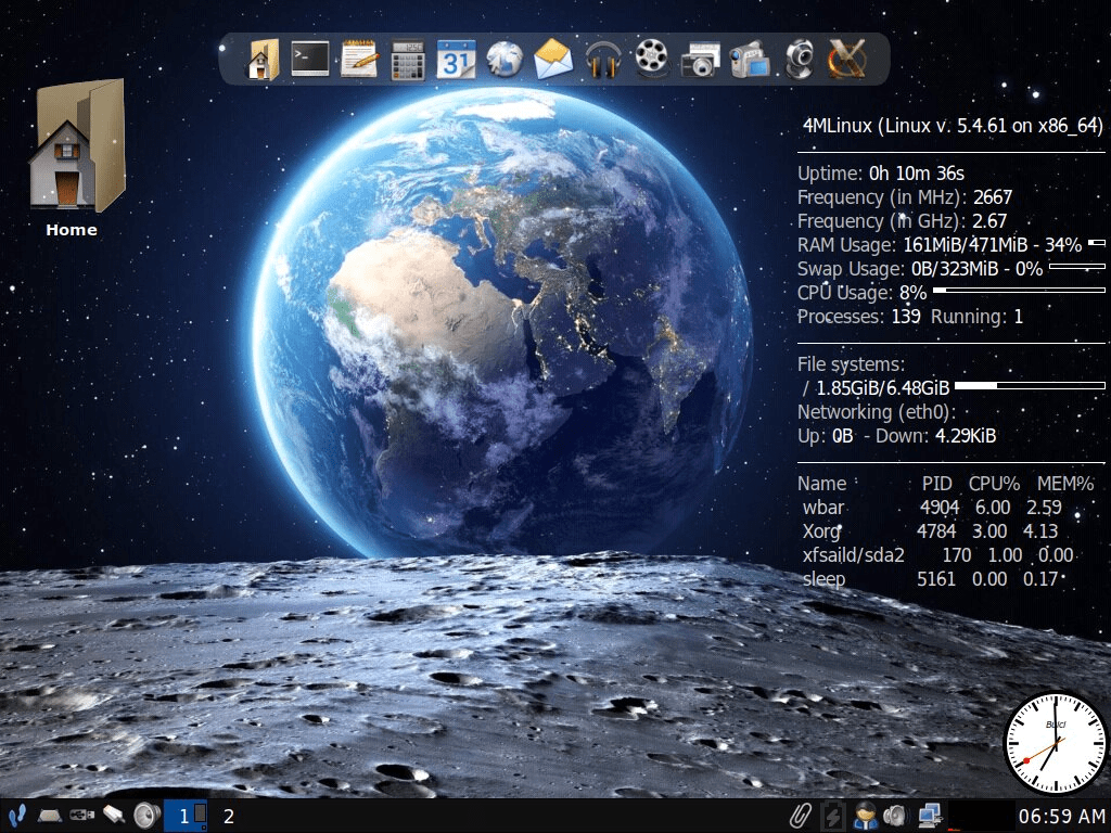 4MLinux 34.0 mit Joe's Window Manager