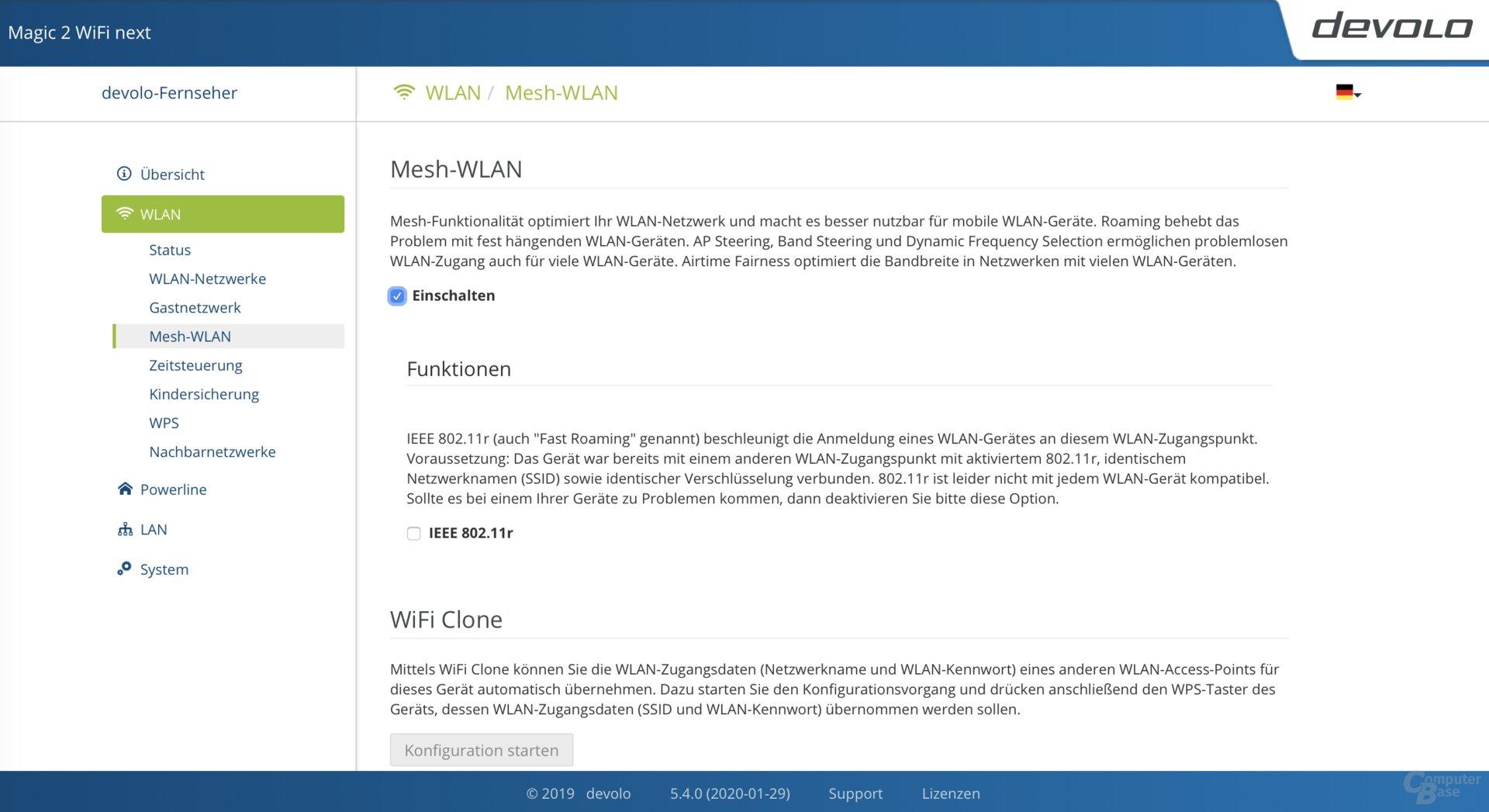 Benutzeroberfläche des Magic-2-WiFi-next-Adapters
