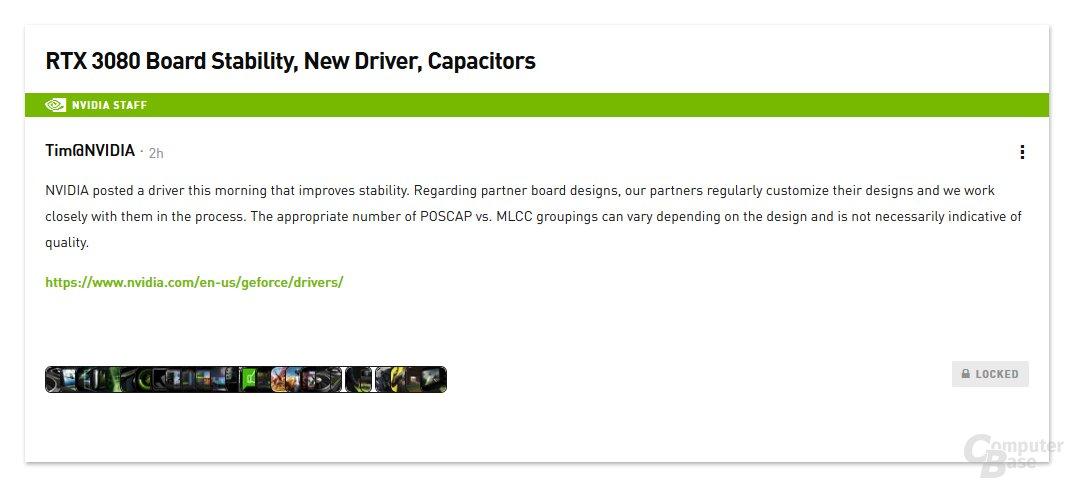 Stellungnahme von Nvidia zur GeForce RTX 3080