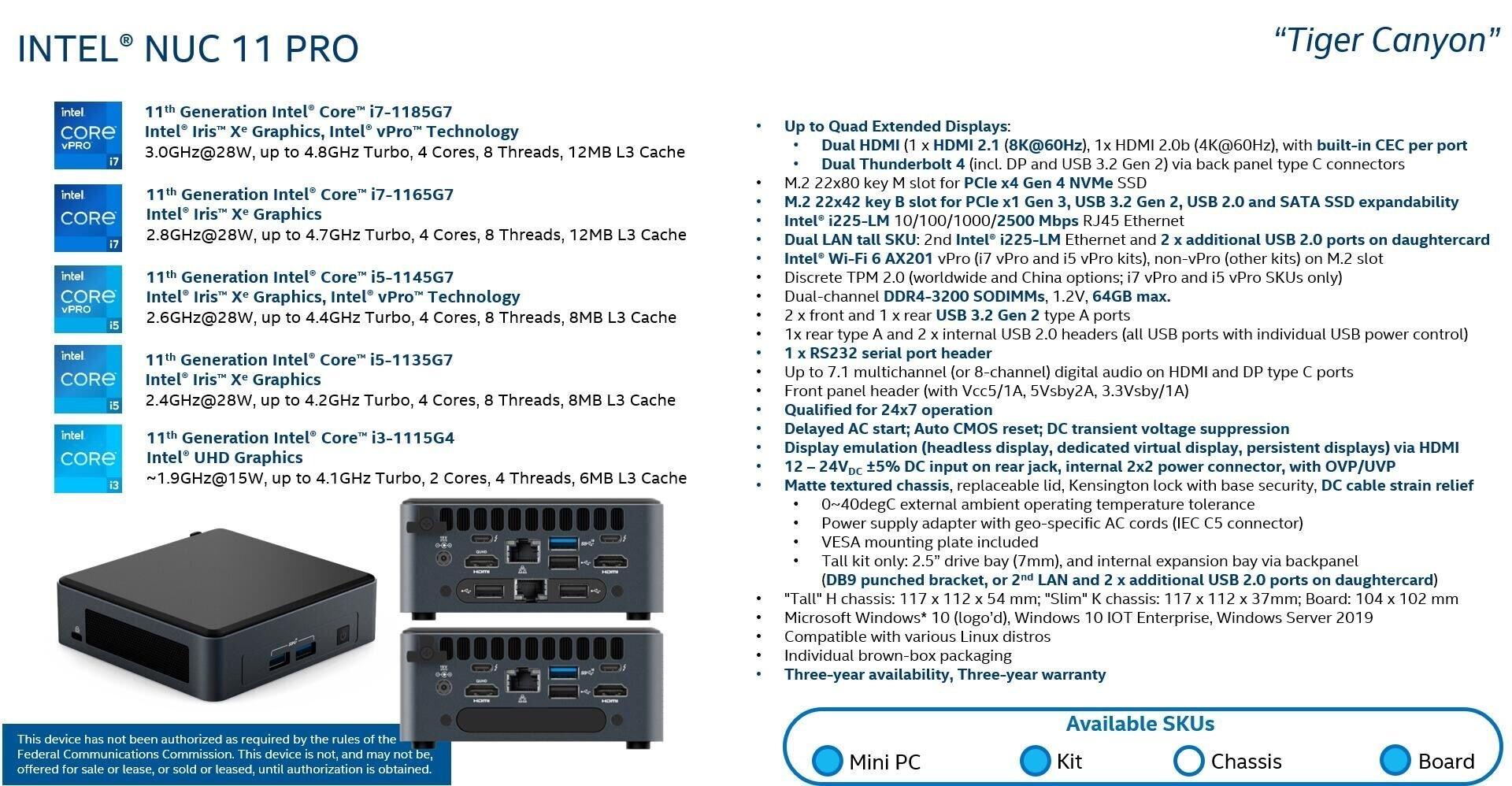 Intel NUC11 Pro Tiger Canyon