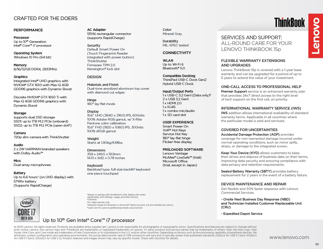 ThinkBook 15p mit Comet Lake-H