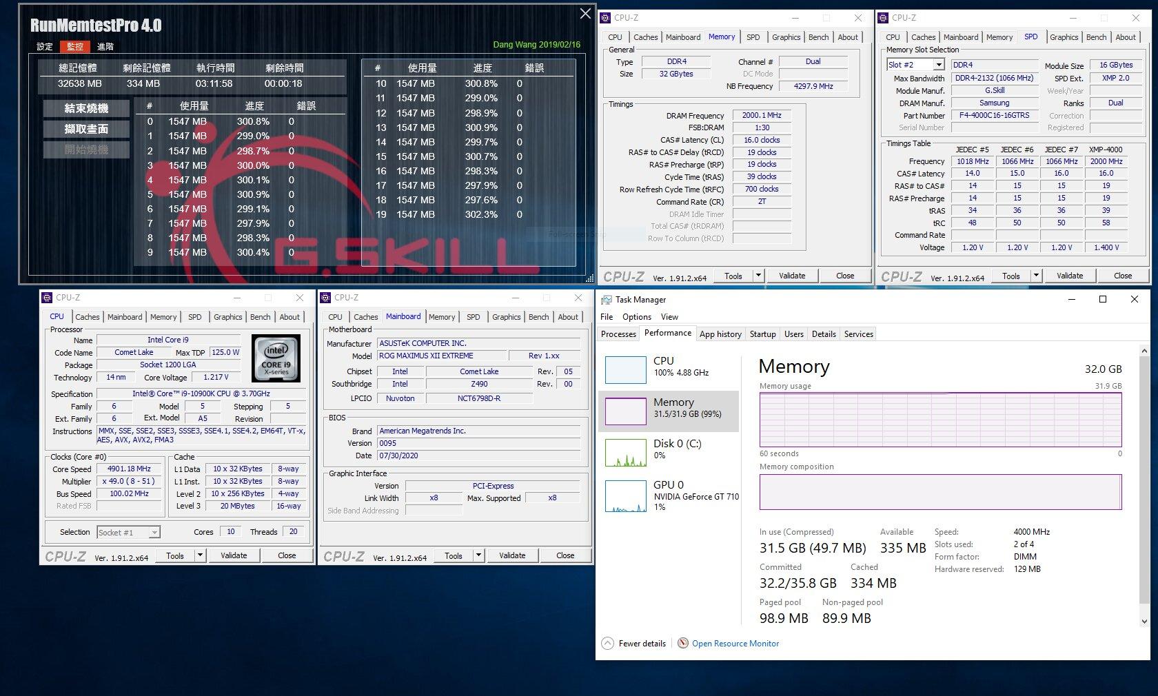 G.Skill Trident Z Royal, Trident Z RGB und Ripjaws V als 32-GB-Kit mit 4.000 MHz bei CL16 (Asus Z490)