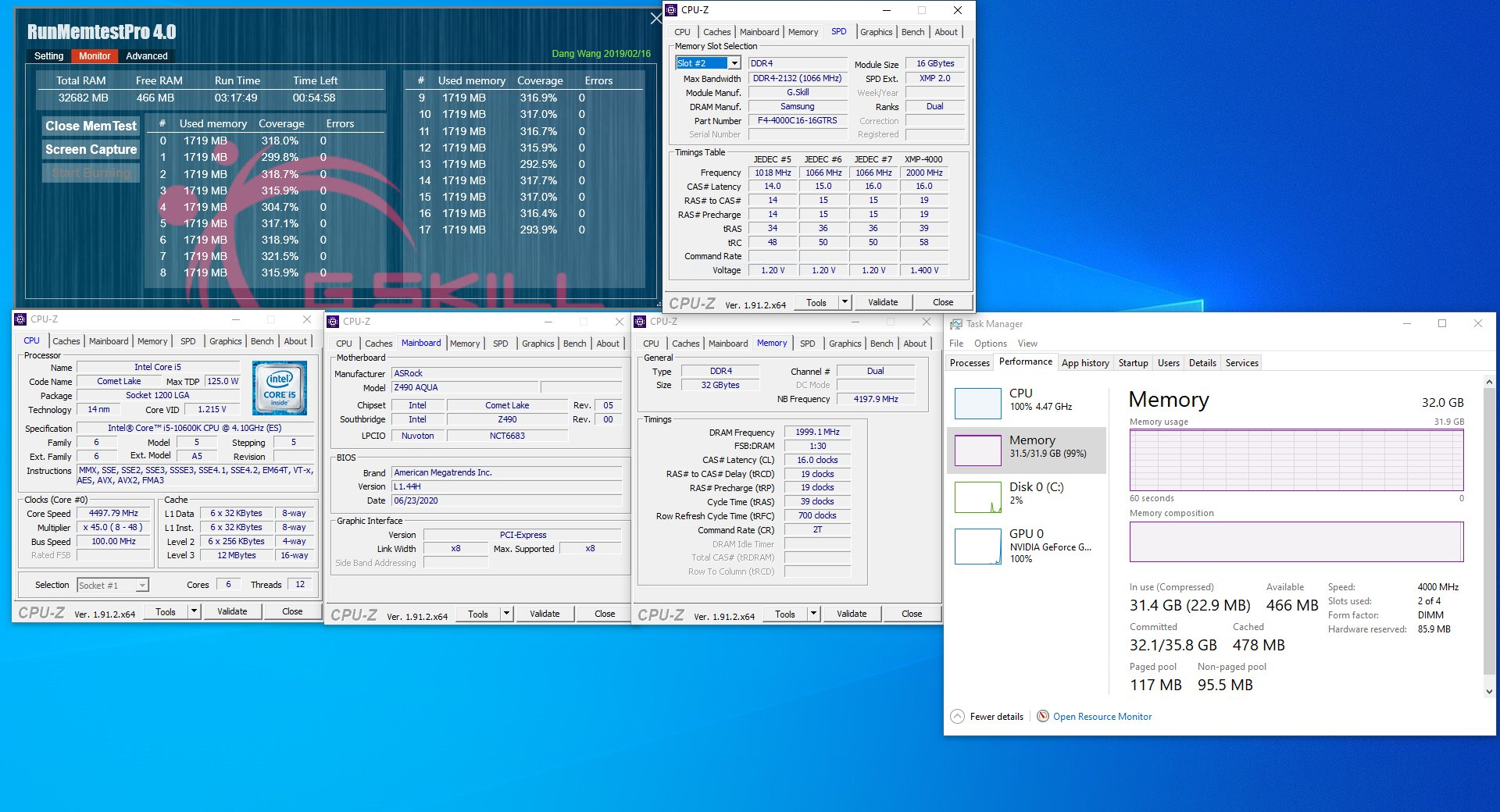 G.Skill Trident Z Royal, Trident Z RGB und Ripjaws V als 32-GB-Kit mit 4.000 MHz bei CL16 (ASRock Z490)