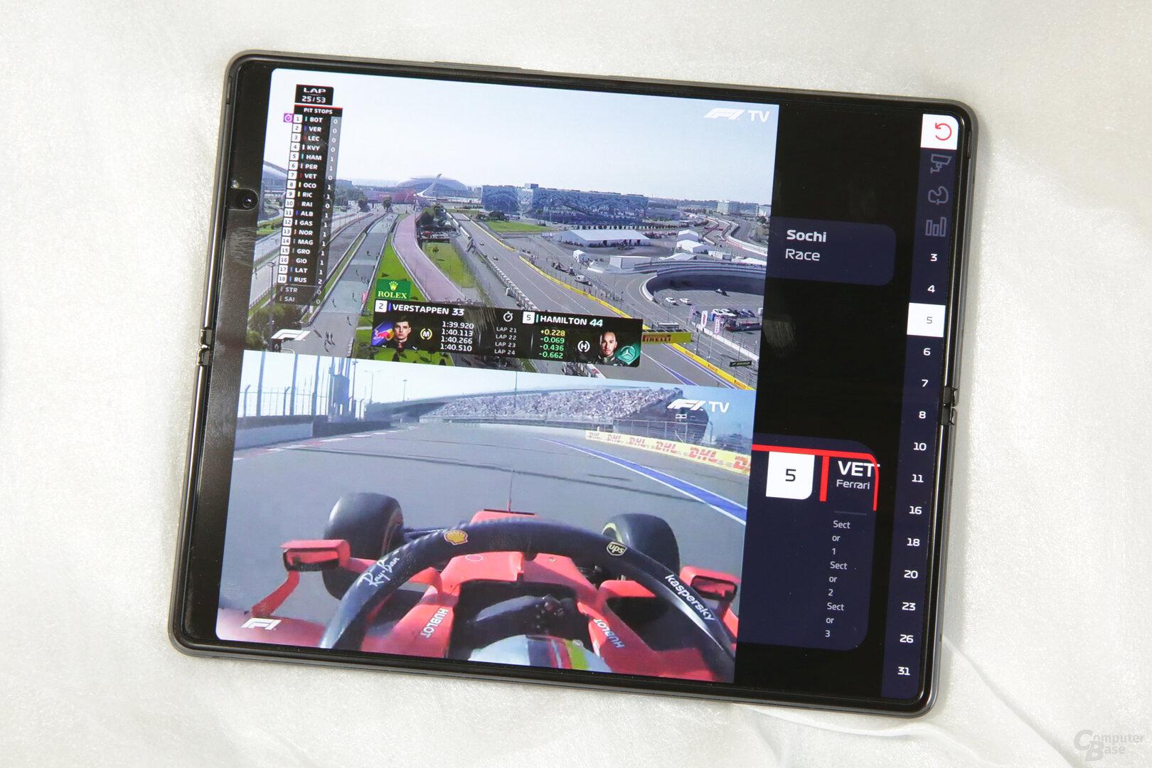 F1 TV nutzt das Display (unfreiwillig) gut aus