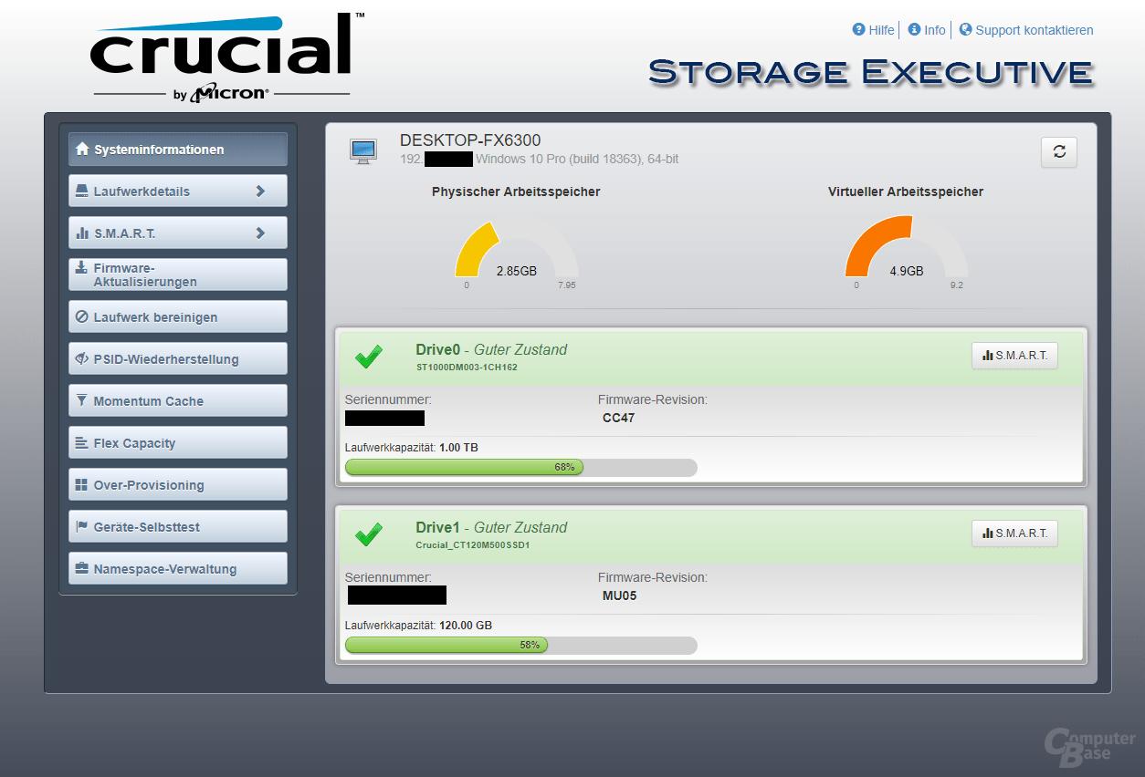 Crucial Storage Executive – Oberfläche