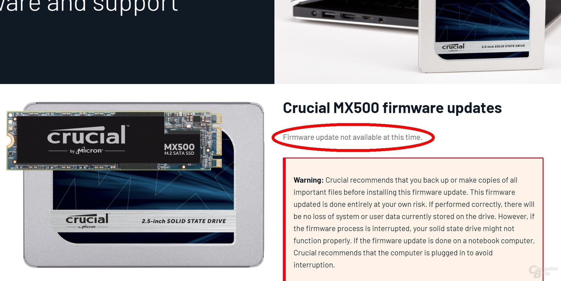"""Support-Seite von Crucial meldet """"zur Zeit kein Firmware-Update verfügbar"""""""