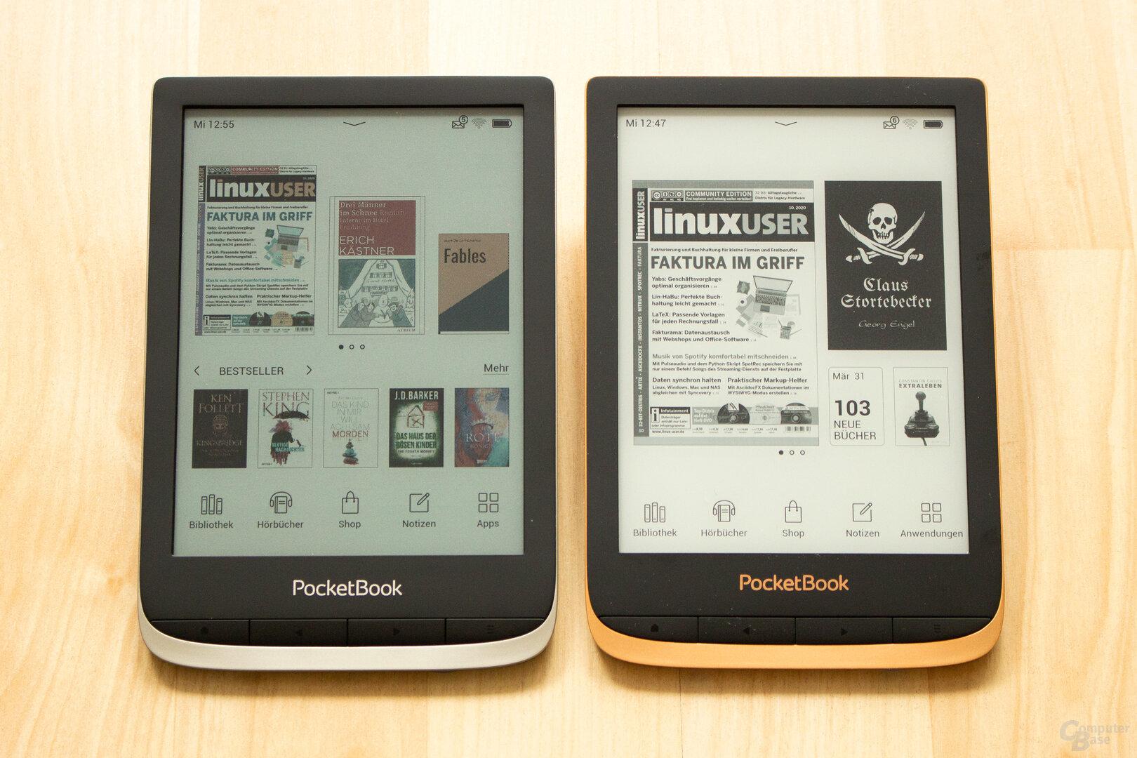 Das dunklere Display des PocketBook Color (links) gegenüber dem Touch HD 3 (rechts) fällt direkt ins Auge