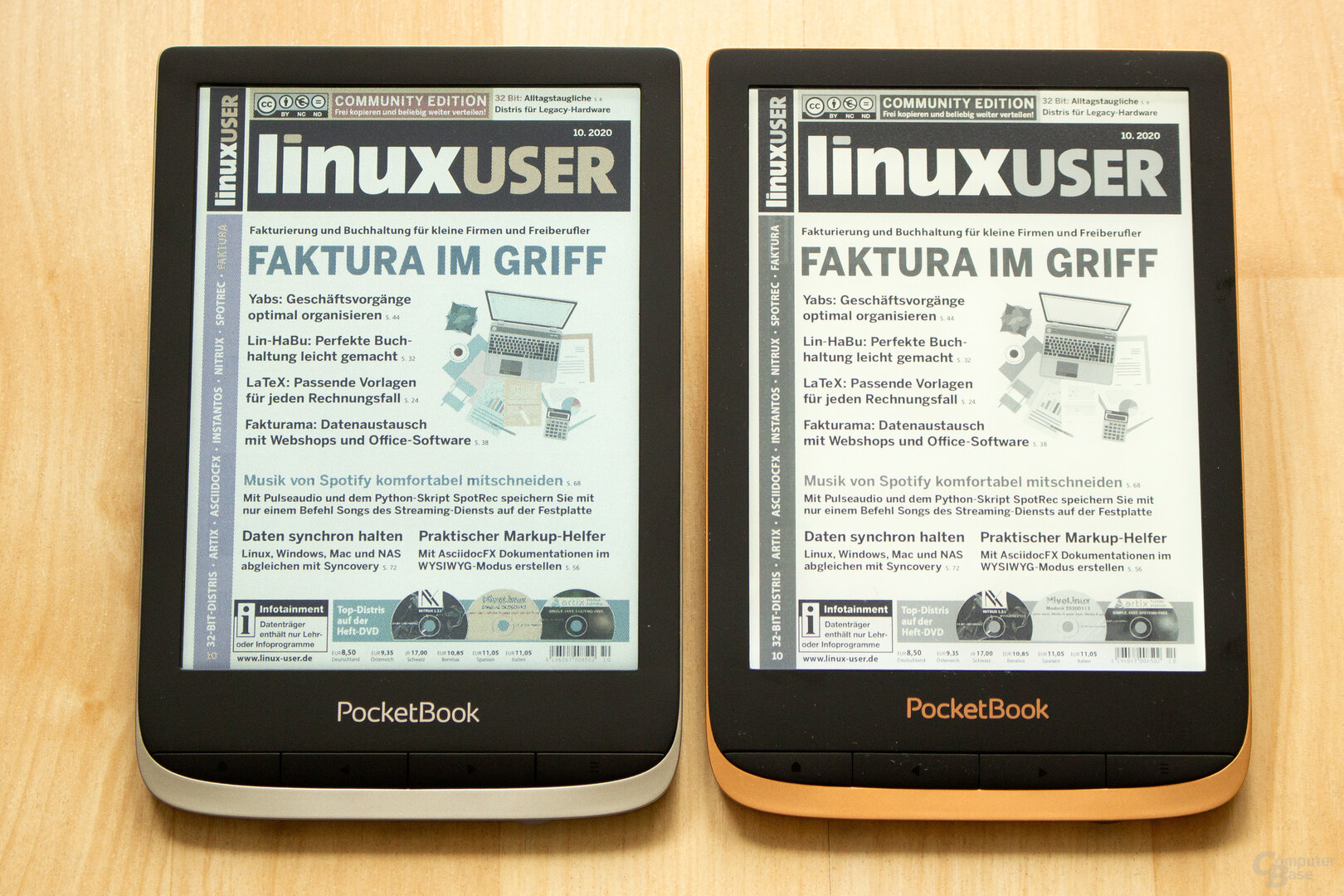 W-Paper vergleich zwischen dem Color (links) und dem Touch HD 3 (rechts)