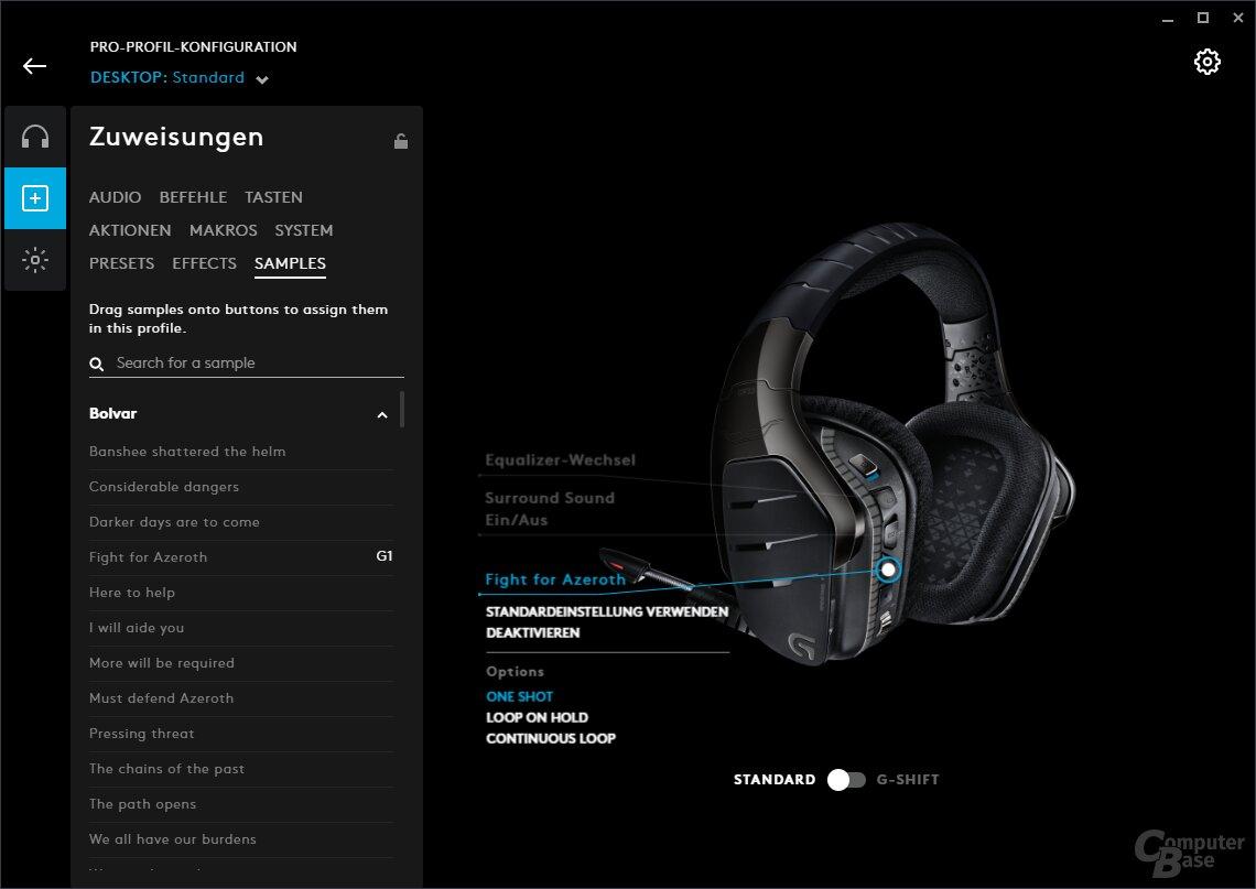 Belegung der Soundclips auf zuweisbare Tasten von G-Produkten