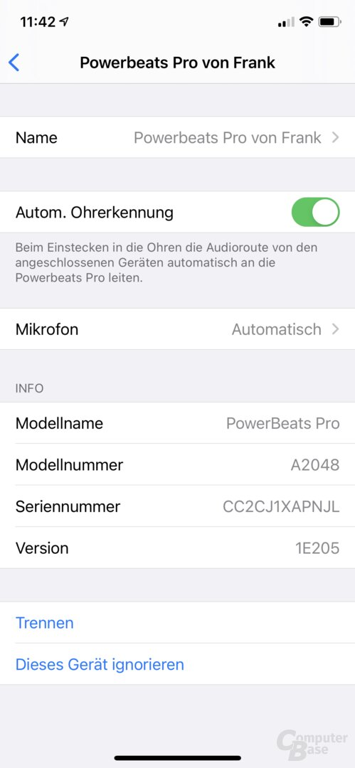 Beats Powerbeats Pro in iOS mit alter Firmware 1E205