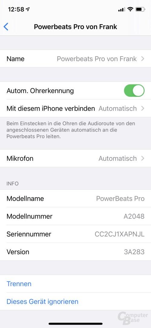 Beats Powerbeats Pro in iOS nach dem Firmware-Update auf 3A283