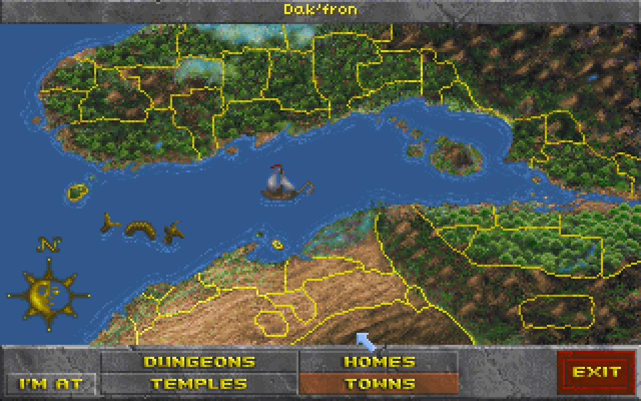Eine Karte der 480.000 km² große Spielwelt von The Elder Scrolls 2: Daggerfall
