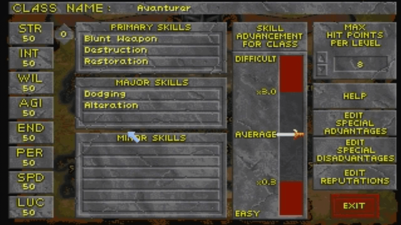 Die Anzahl der Fähigkeiten in The Elder Scrolls 2: Daggerfall war beeindruckend