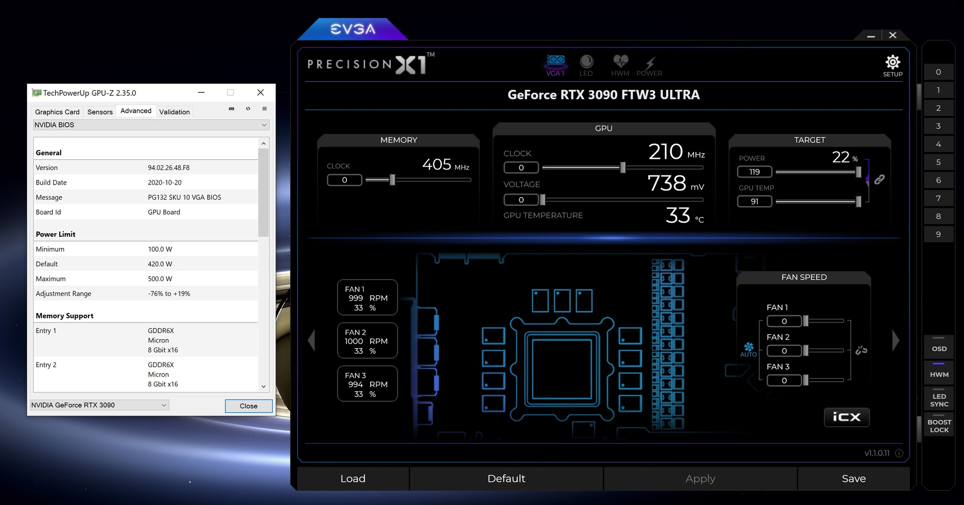 EVGA GeForce RTX 3090 FTW3 Ultra mit 500-Watt-BIOS und 119% Power Target (Bild:EVGA)