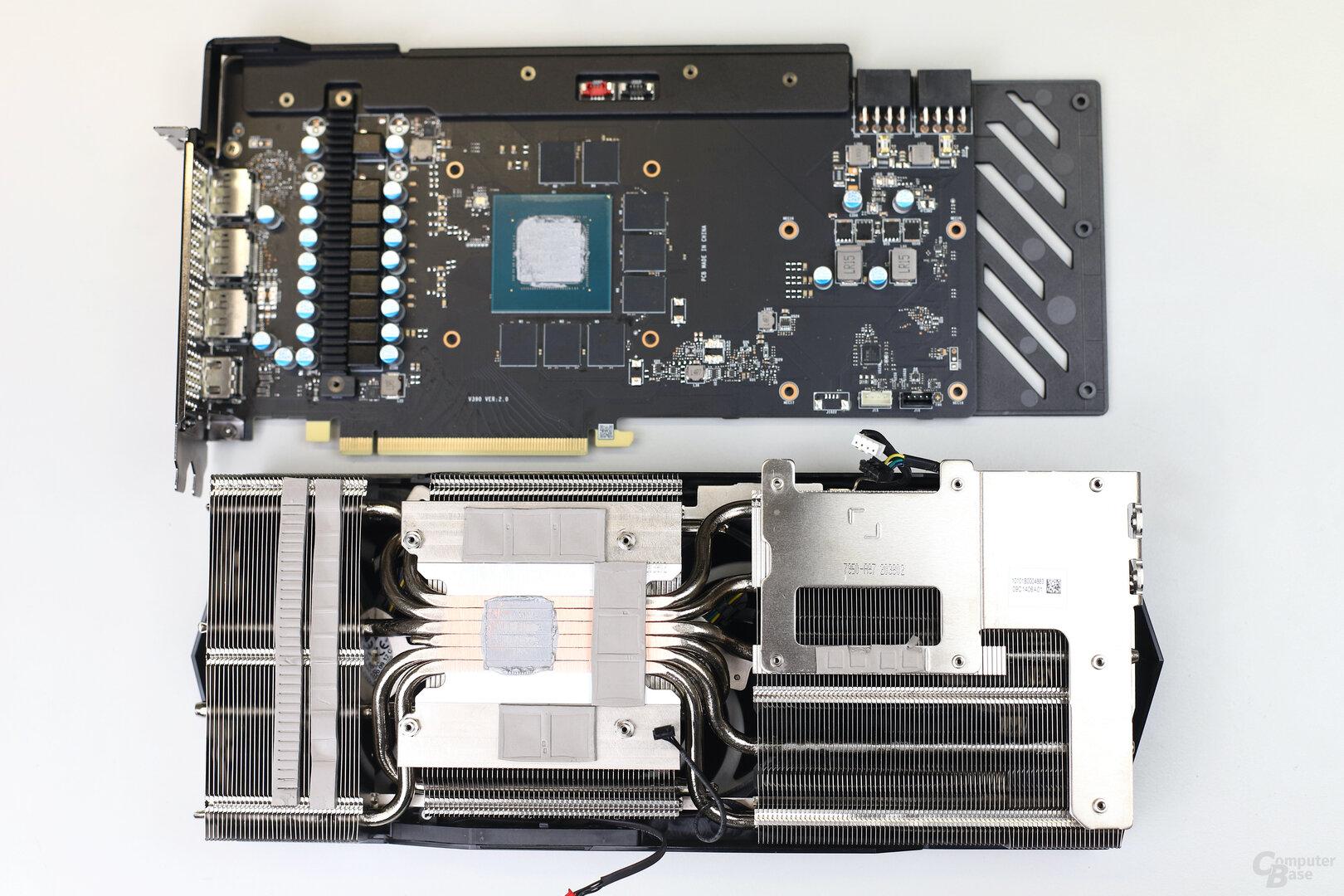 PCB und Kühler der MSI GeForce RTX 3070 Gaming X