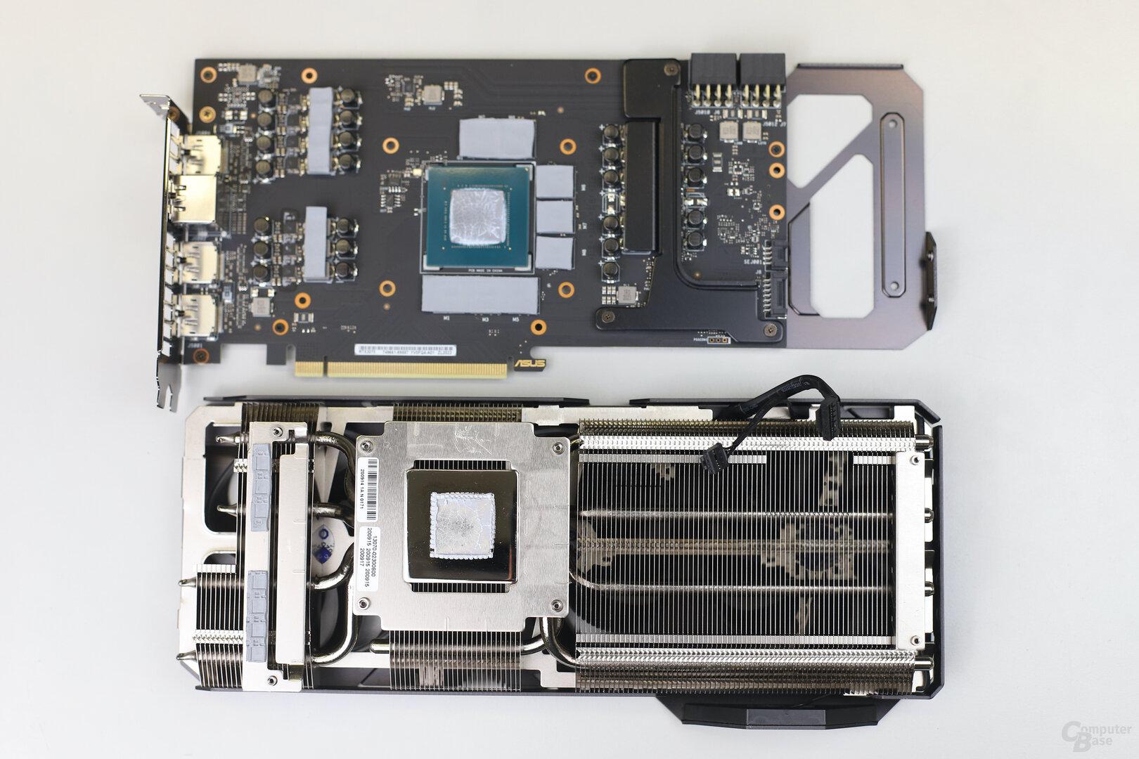 PCB und Kühler der Asus GeForce RTX 3070 TUF