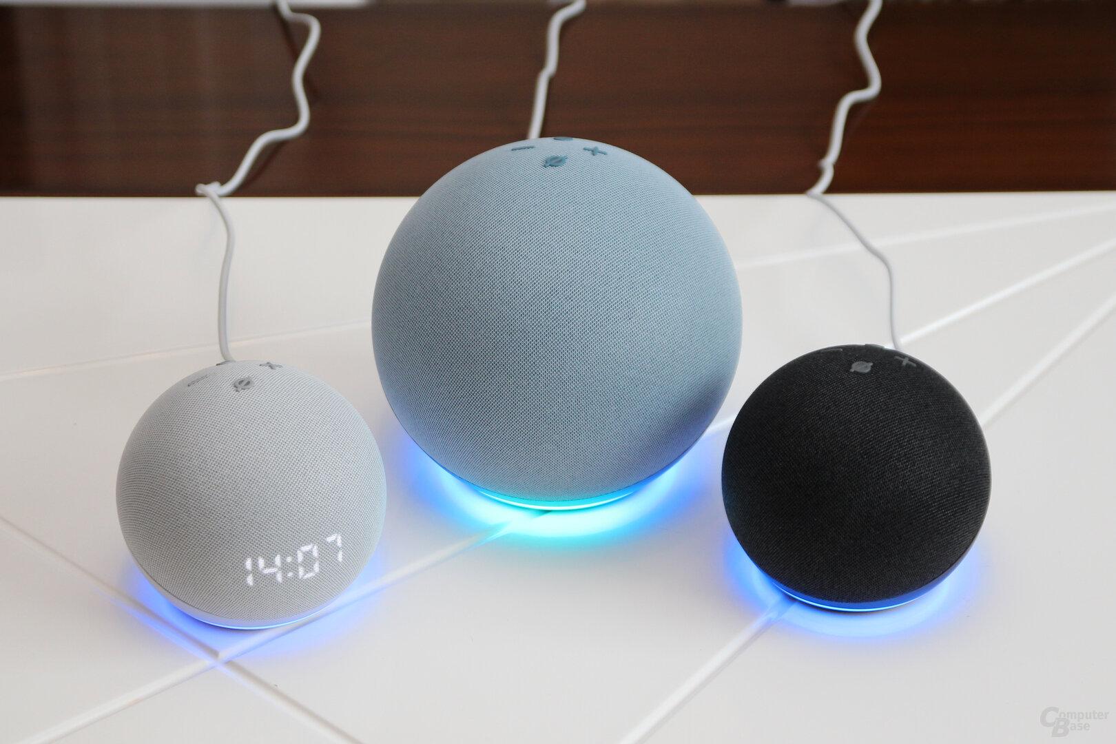 Amazon Echo (4. Gen.), Echo Dot (4. Gen.) und Echo Dot mit Uhr (4. Gen.)