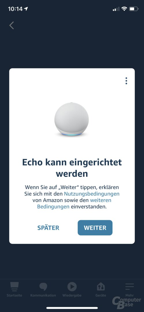 Einrichtung des Echo in der Alexa-App