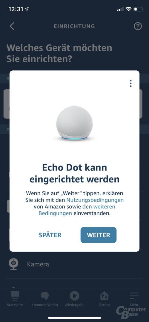 Einrichtung des Echo Dot in der Alexa-App