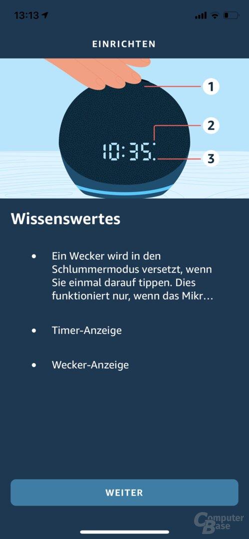 Einrichtung des Echo Dot mit Uhr in der Alexa-App