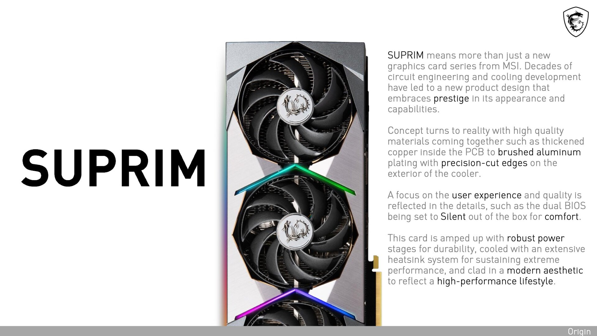 MSIs Informationsmaterial zur neuen Suprim-Serie