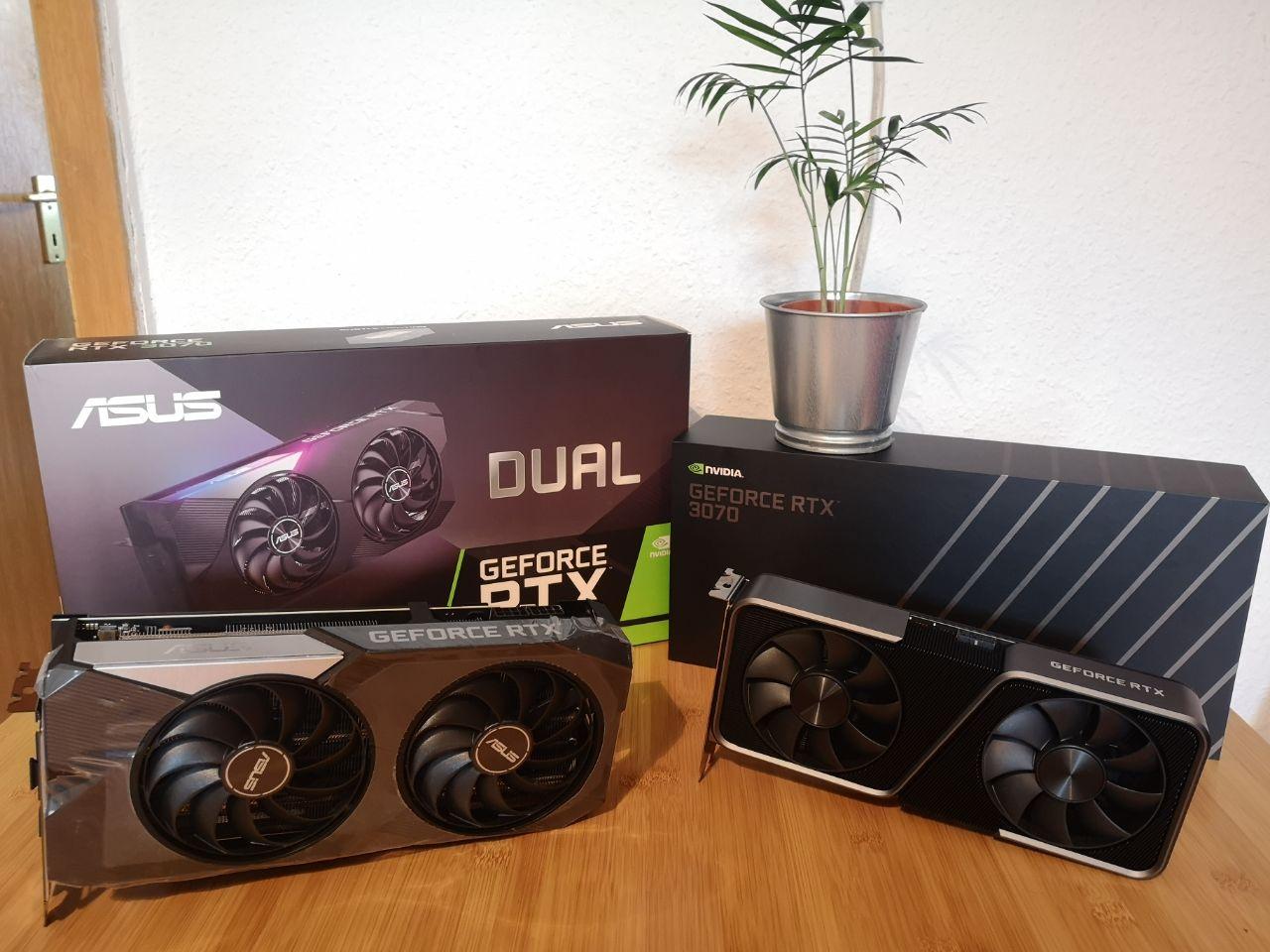 Die Asus Dual GeForce RTX 3070 OC und die GeForce RTX 3070 FE im Vergleichstest