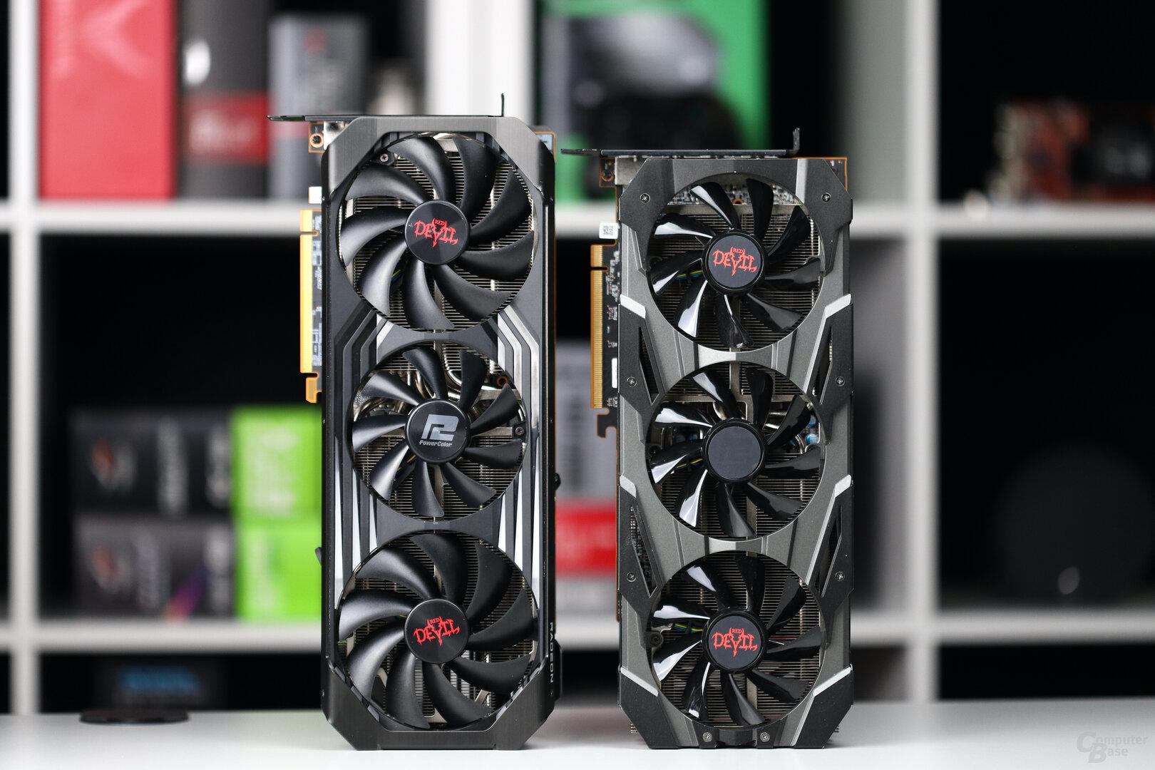 PowerColor RX 6800 XT Red Devil (links) und RX 5700 XT Red Devil (rechts)