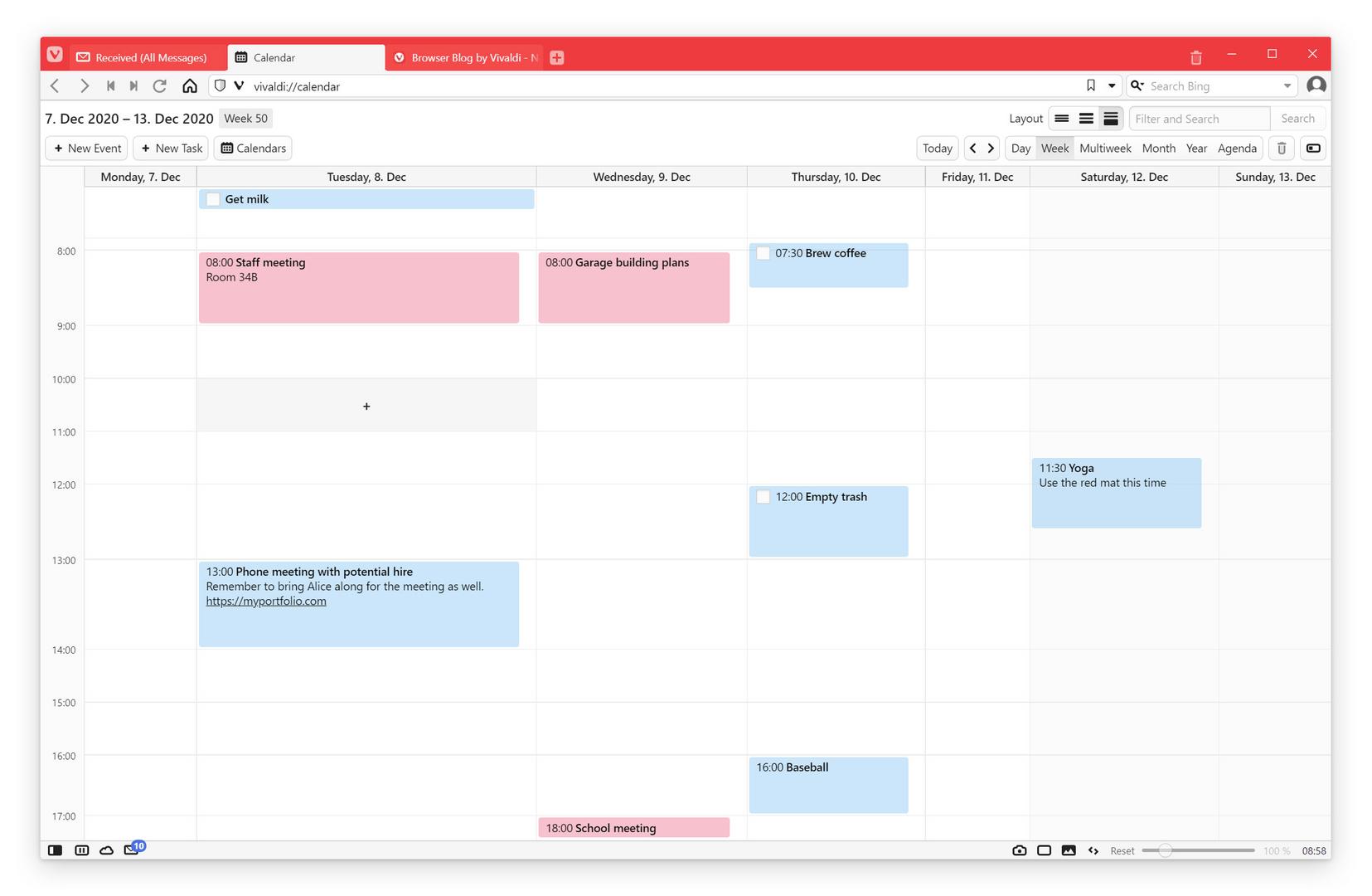 Kalender in Vivaldi Mail