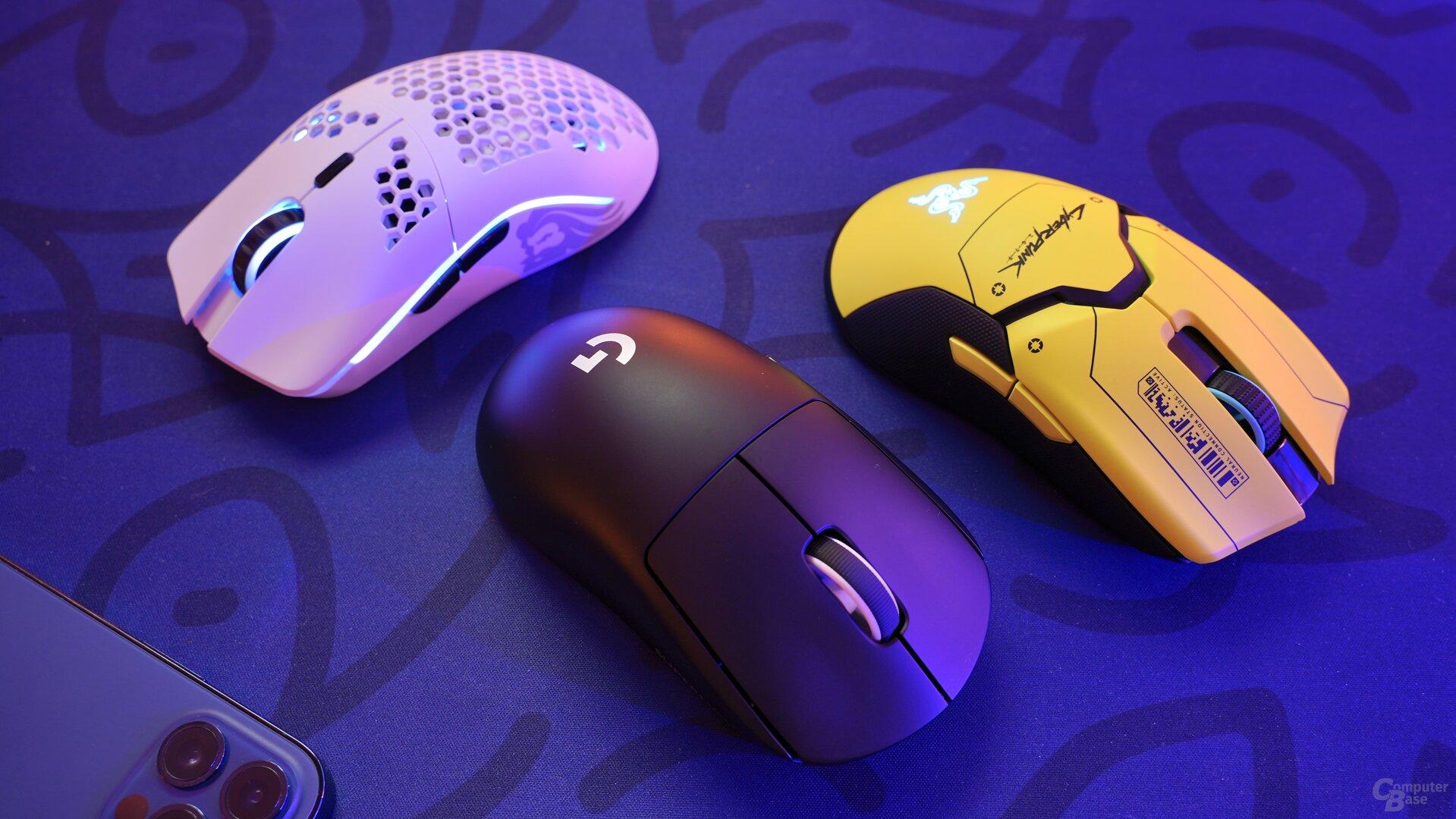 Logitech G Pro X Superlight, Razer Viper Ultimate (Cyberpunk-Edition) & Glorious Model O Wireless