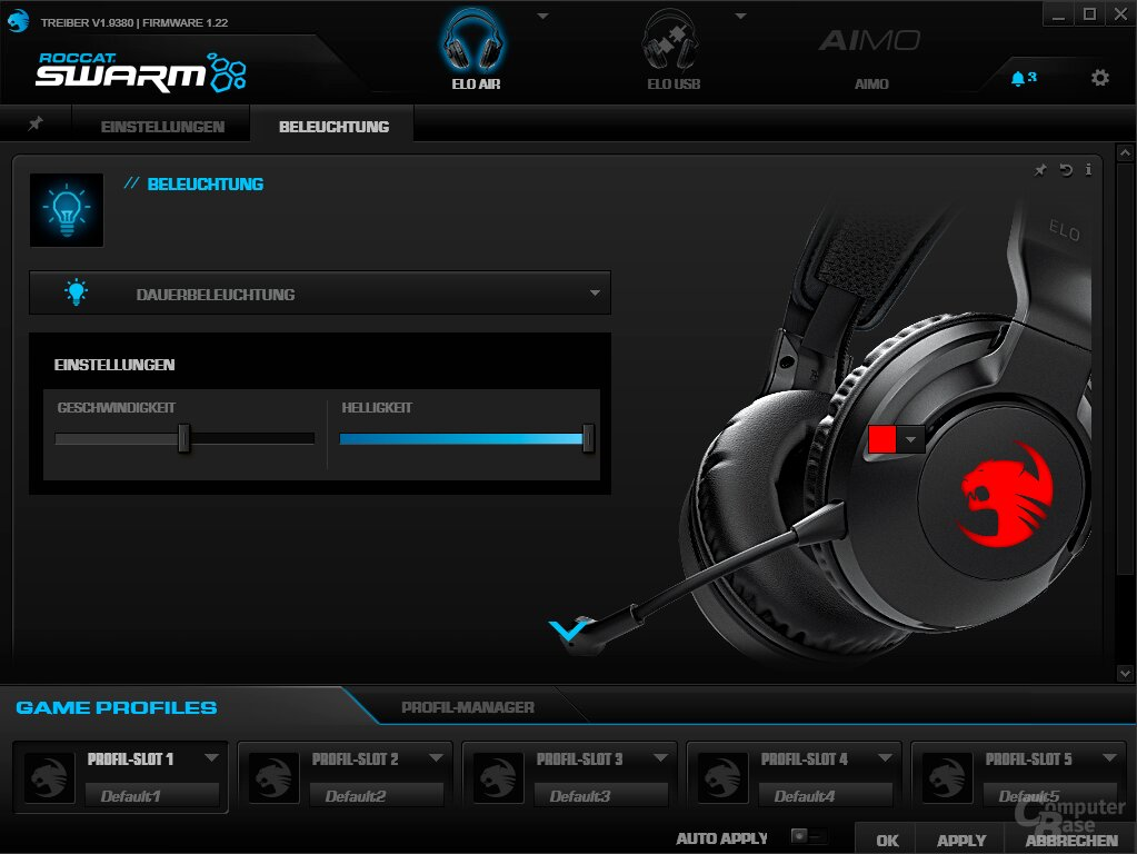 Die zu den Headsets gehörige Swarm-Software