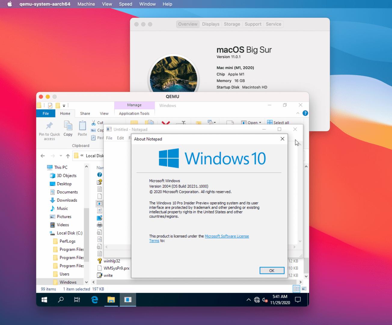 Windows 10 läuft auf einem M1-Prozessor unter macOS 11 Big Sur