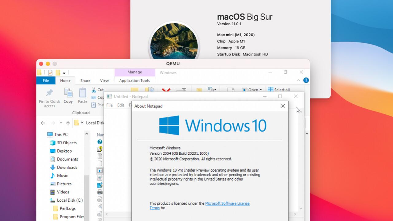 Apple Silicon: Windows 10 läuft per QEMU-Virtualisierung auf M1-SoC