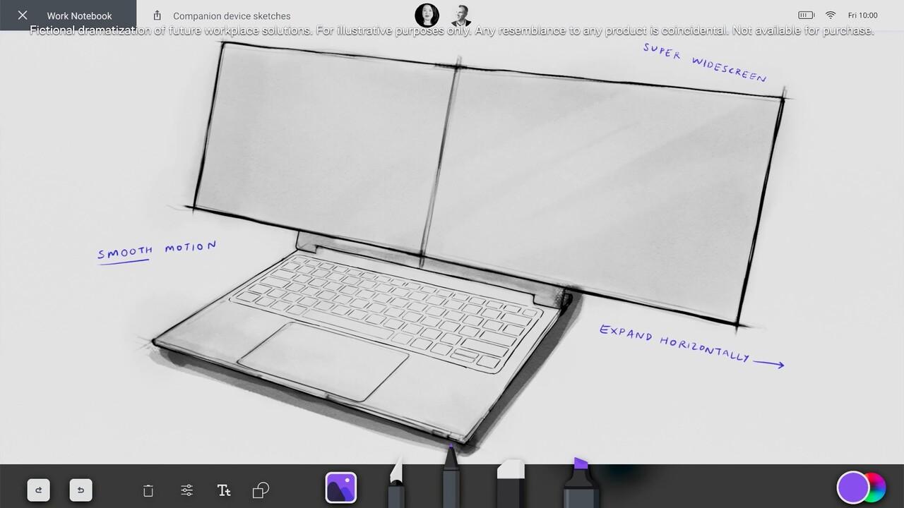 Konzept: Dell zeigt Notebook mit zwei Bildschirmen