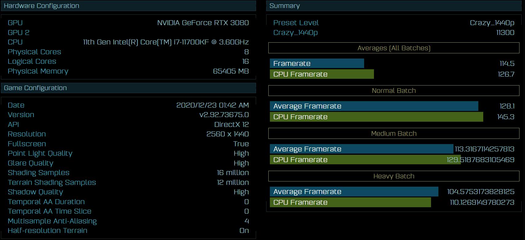 Intel Core i7-11700KF im Ashes i Singularity Benchmark