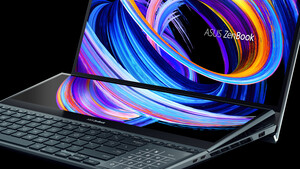 ZenBook Pro Duo 15 OLED: Asus winkelt das zweite Display automatisch an