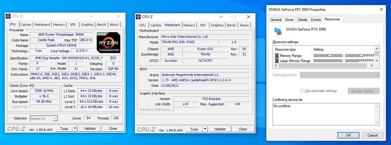 Resizable BAR mit einer GeForce RTX 3090 auf der TRX40-Plattform von AMD
