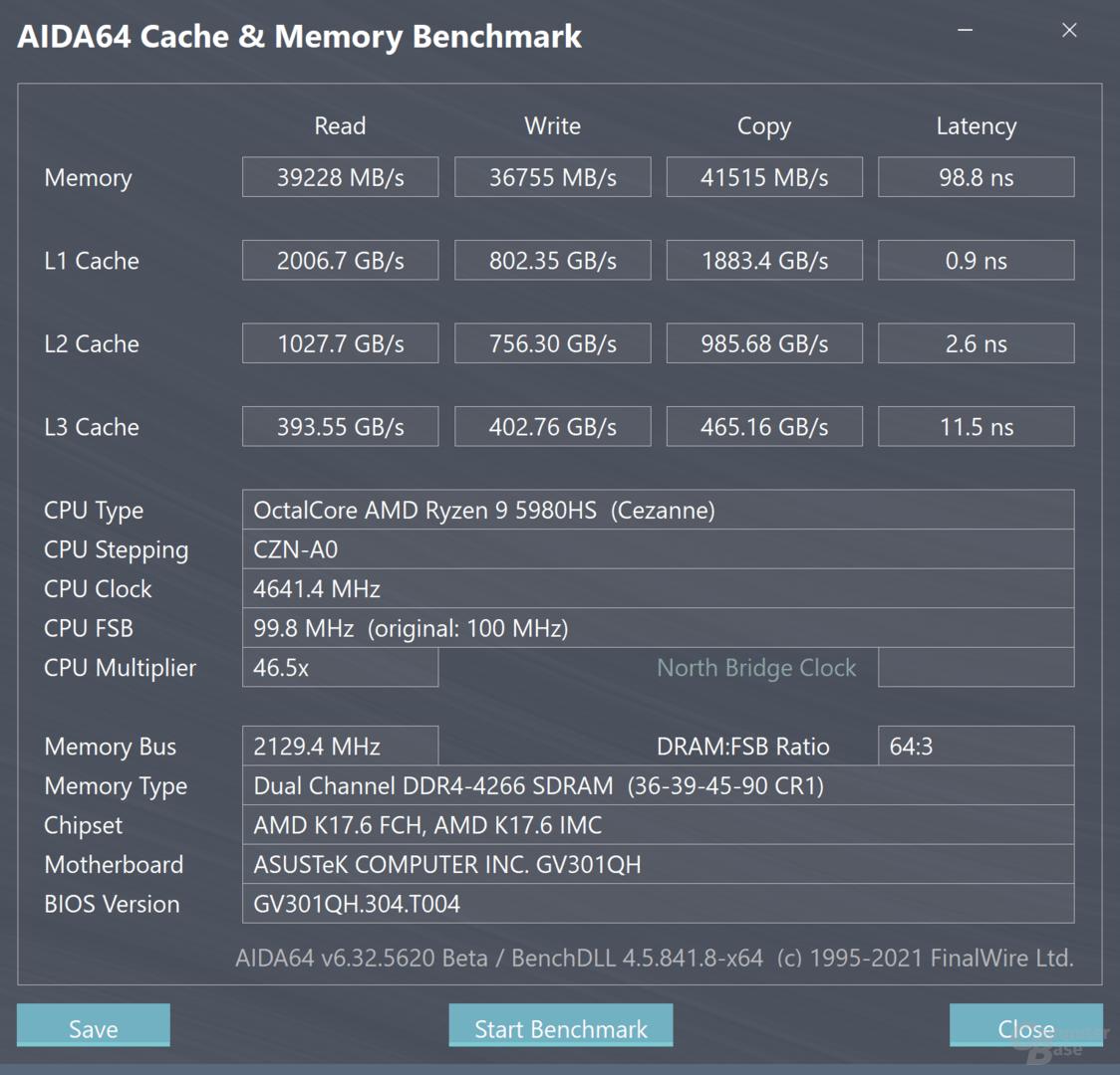 AMD Ryzen 9 5980HS im Speichertest