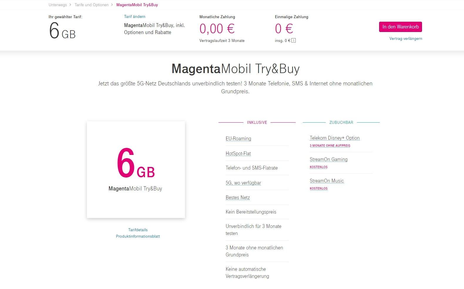 Angebot für MagentaMobil Try&Buy auf der Webseite
