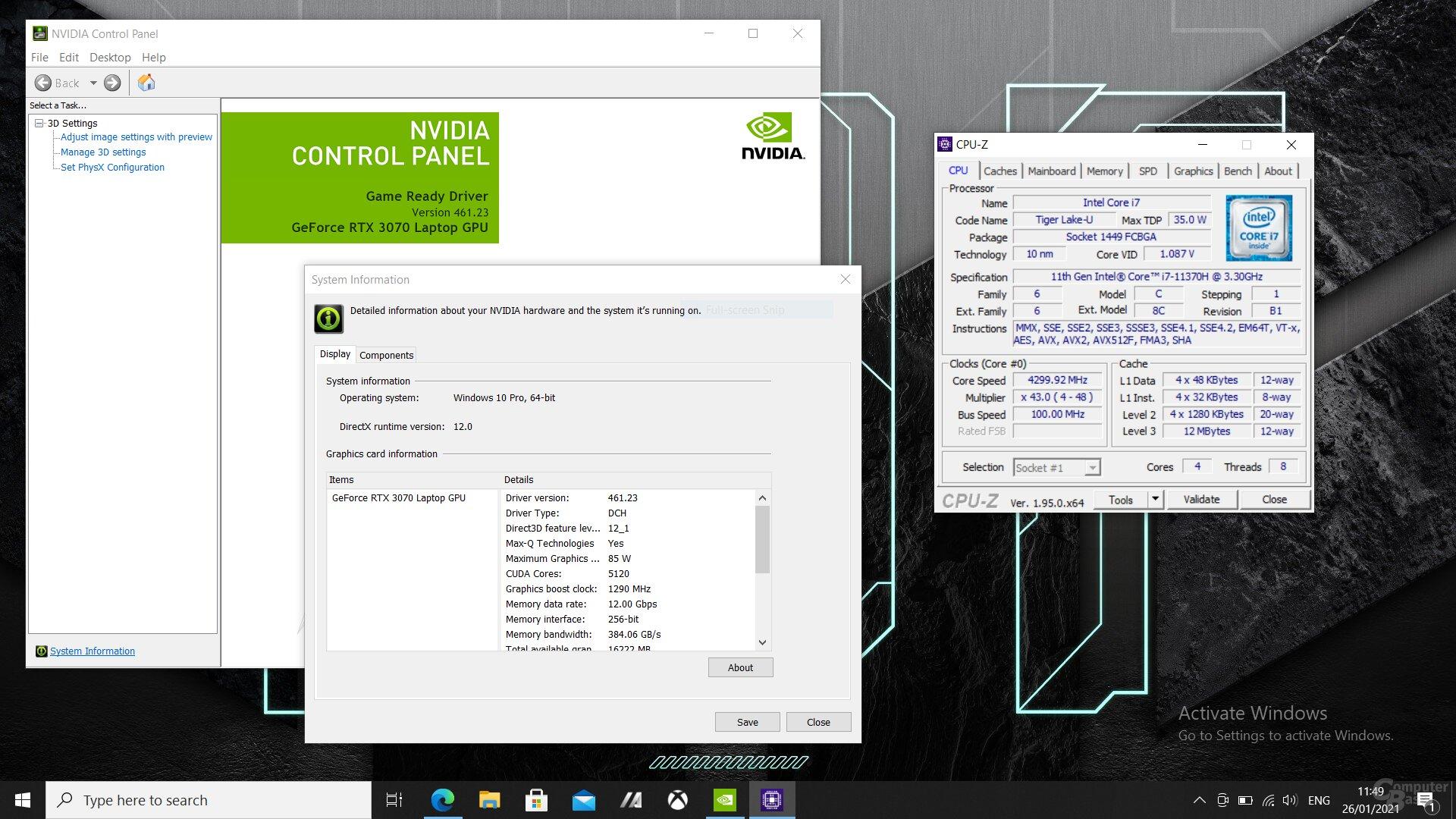 Eine gewagte Kombination - Tiger Lake-H35 mit 4 Kernen und GeForce RTX 3070 Laptop GPU