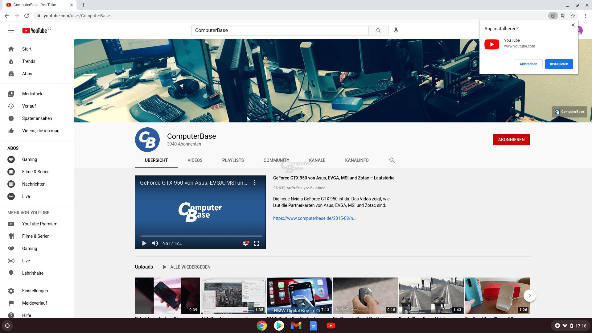 Die Progressive Web App von YouTube lässt sich mit zwei Klicks installieren...