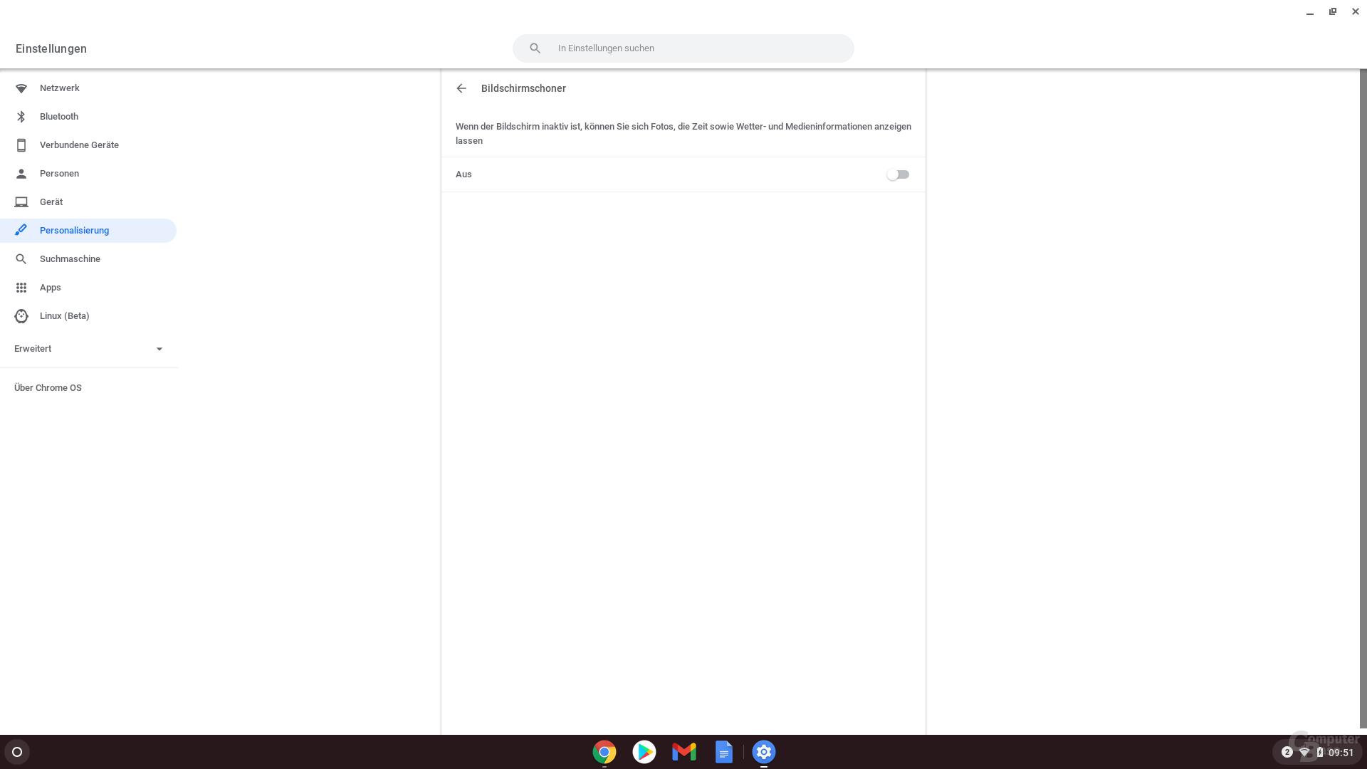 Den personalisierten Sperrbildschirm in Chrome OS 88 aktivieren