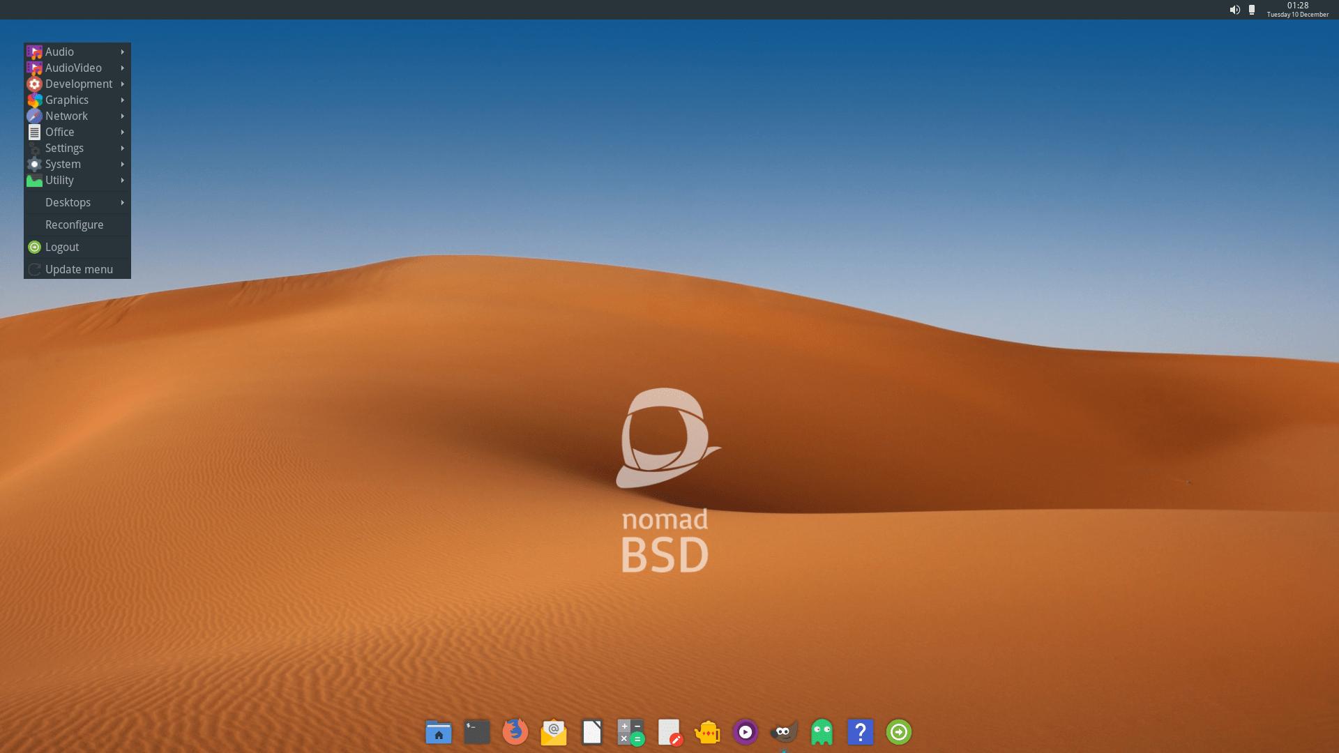 NomadBSD 1.4 mit Openbox 3.6.1 und Plank-Dock