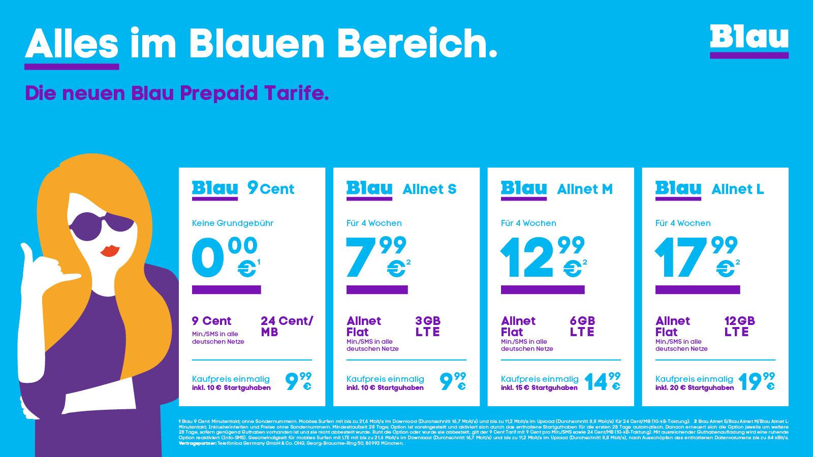 Blau Prepaid-Tarife ab dem 2.Februar 2021