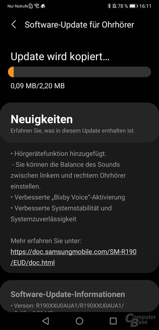 Samsung-Galaxy-Wearable-App mit Galaxy Buds Pro